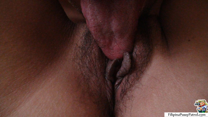 Closeup view of hairy crotch as I lick her Chubby Filipina Pussy out