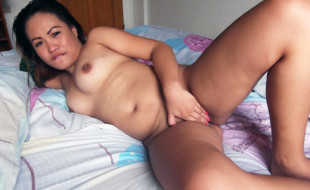 Chubby and glistening shaved filipina pussy gets too horny
