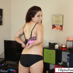 Kat Filipina-American stripping for white dick
