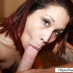 Kat Filipina-American deepthroats white dick
