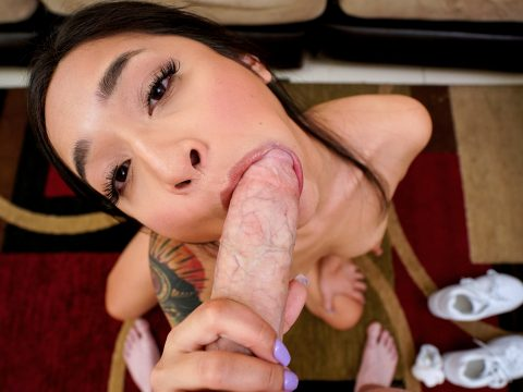 Avery gives a hot pov style blowjob during her follow up Asian sex scene